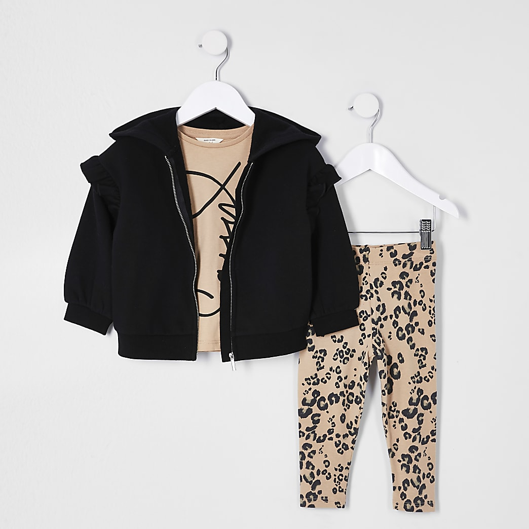 Mini girl black 'Sassy' three piece outfit