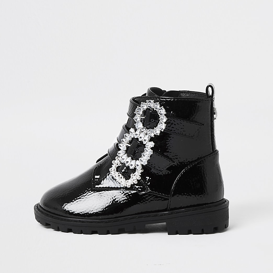 Mini girl black triple buckle ankle boots