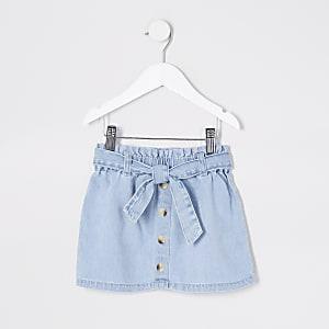 Mini - Blauwe geplooide denim rok voor meisjes