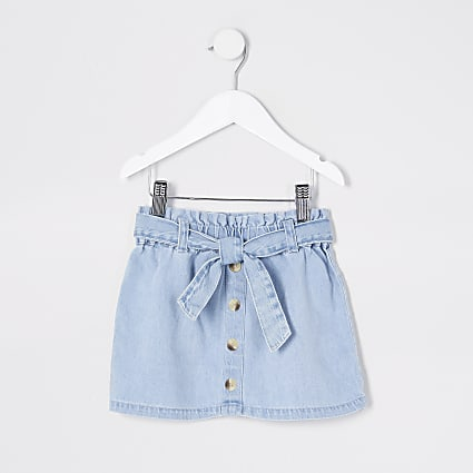 Mini girl blue denim paperbag skirt