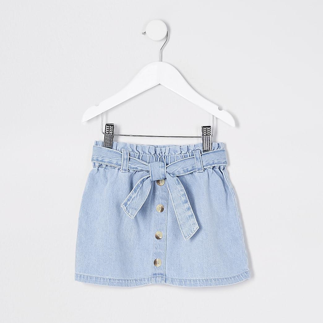 Mini girl blue denim paperbag skirt