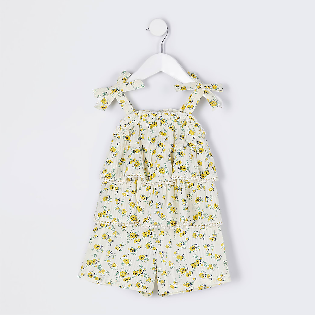 Mini girl yellow floral lace frill playsuit