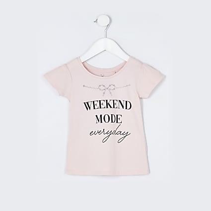 Mini girls  pink 'Weekend mode' t-shirt