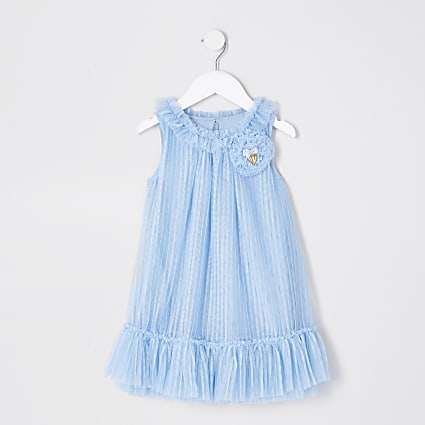 Mini girls 'Angel Face' blue corsage dress