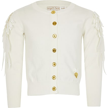 Mini girls Angel's Face ivory sequin cardigan