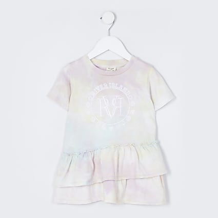 Mini girls aqua tie dye t-shirt dress