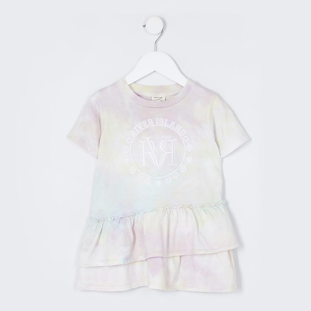 Mini girls aqua tie dye t-shirt dress