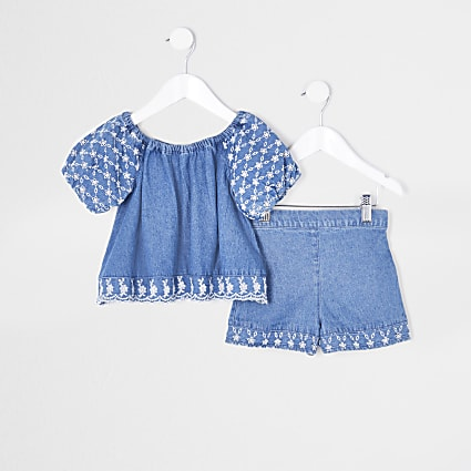 Mini girls bardot sleeve top and skirt outfit