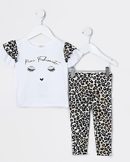 Mini girls beige animal print t-shirt set
