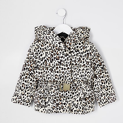 Mini girls beige belted snood padded coat