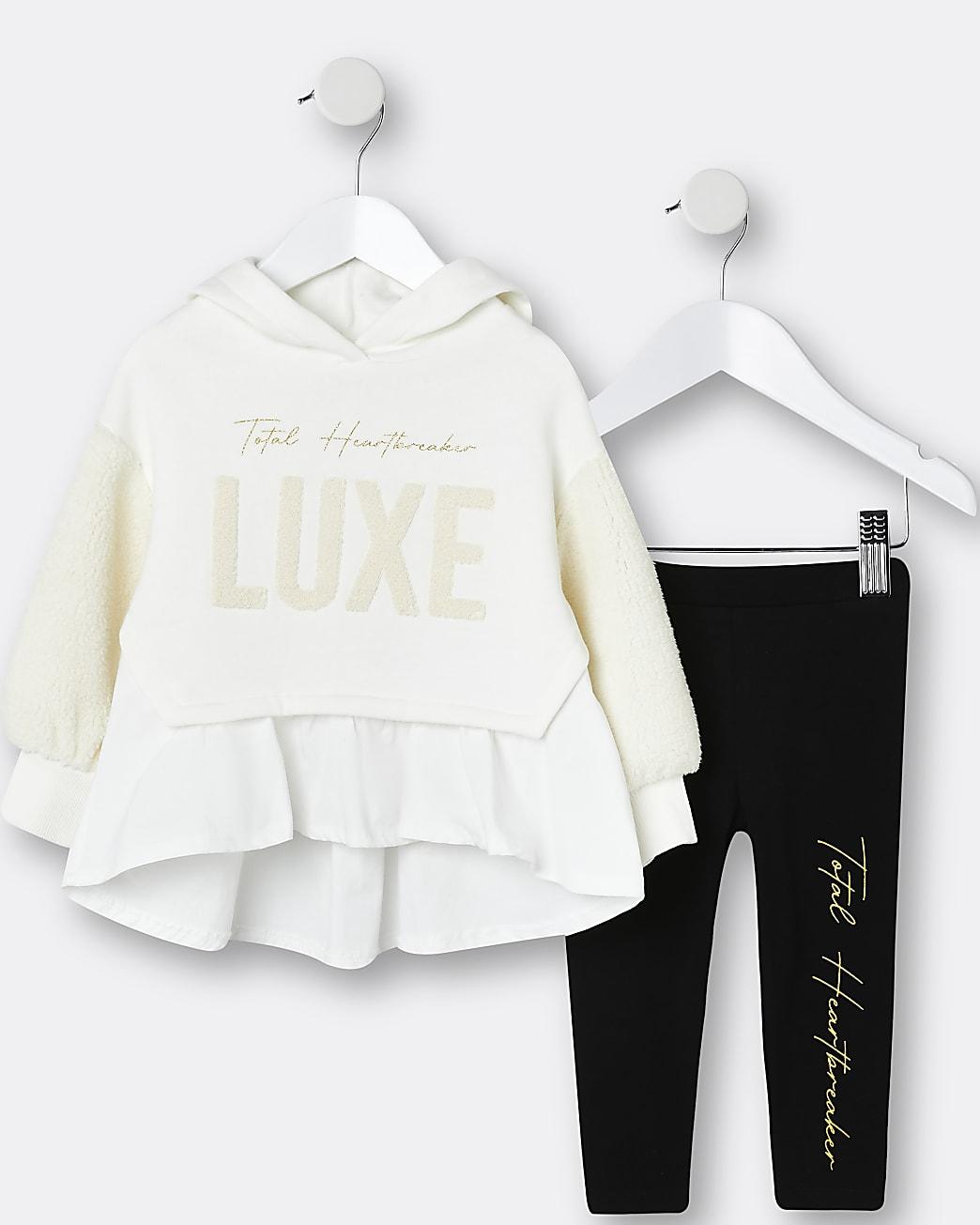 Mini girls beige borg hoodie and leggings set