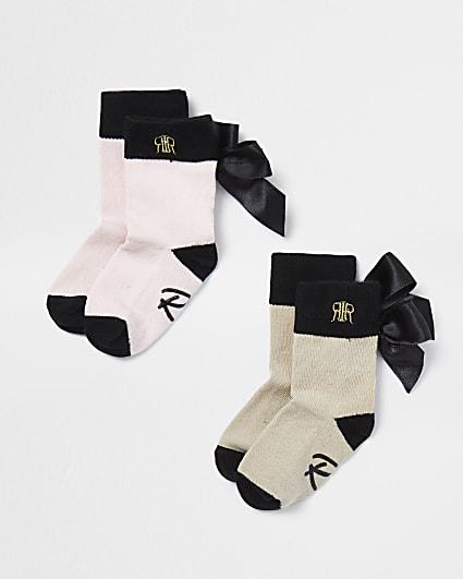 Mini girls beige bow RI socks 2 pack