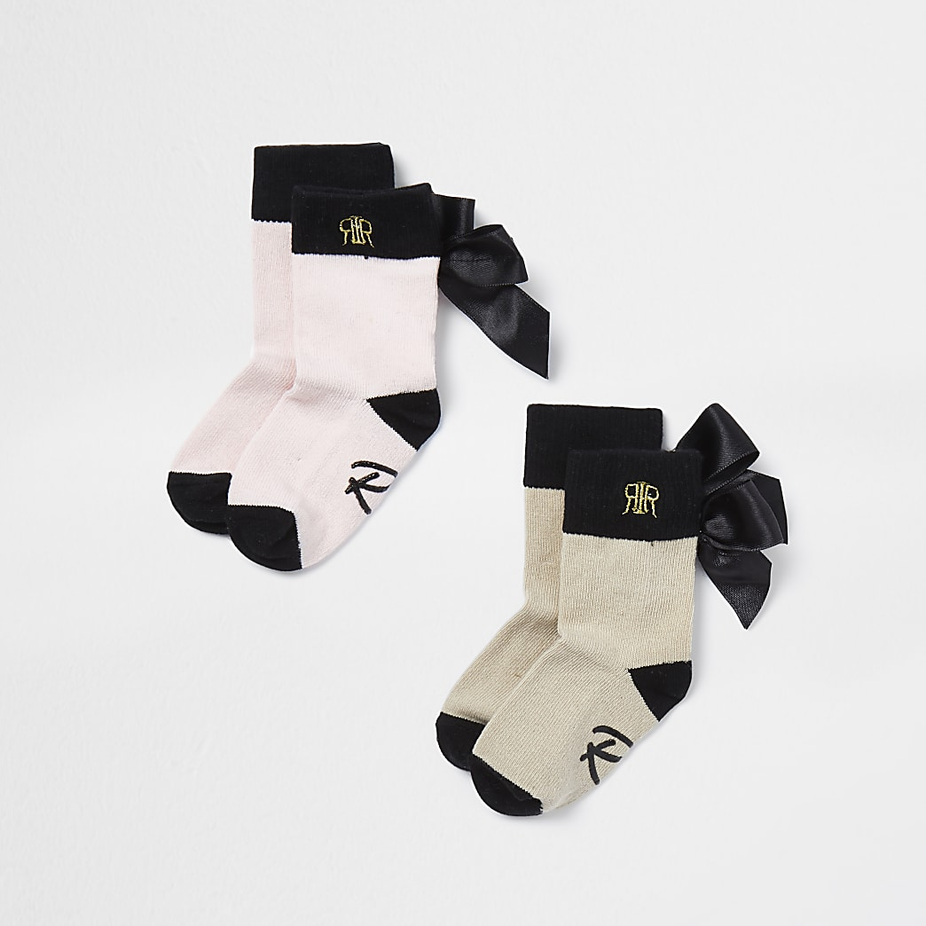 Mini girls beige bow RI socks 2 pack
