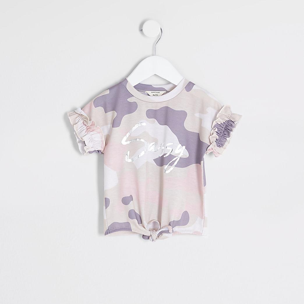 Mini - Beige camouflage T-shirt met 'Sassy'-print voor meisjes
