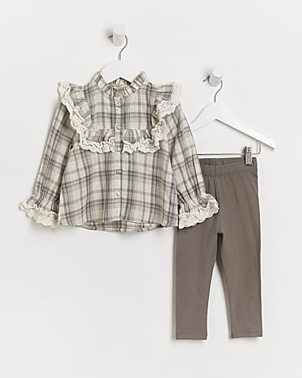 Mini girls beige check frill shirt outfit