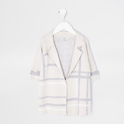 Mini girls beige check print duster jacket
