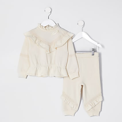Mini girls beige chevron frill outfit