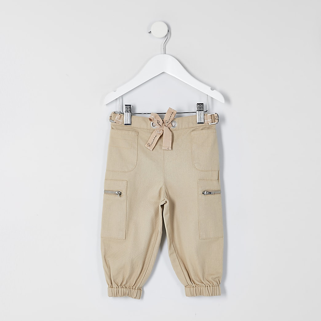 Mini girls beige combat trousers