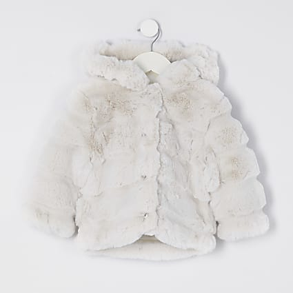 Mini girls beige faux fur hood coat