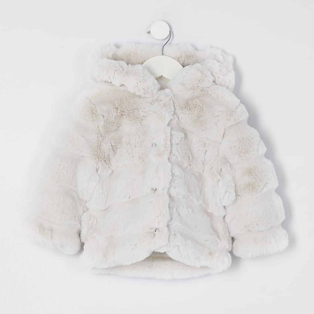 Mini girls beige faux fur hood coat