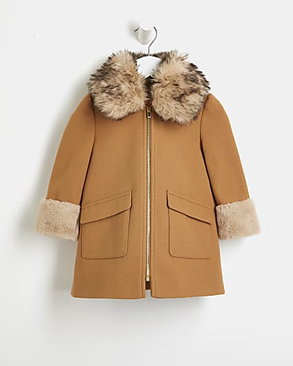 Mini girls beige faux fur trim wool coat