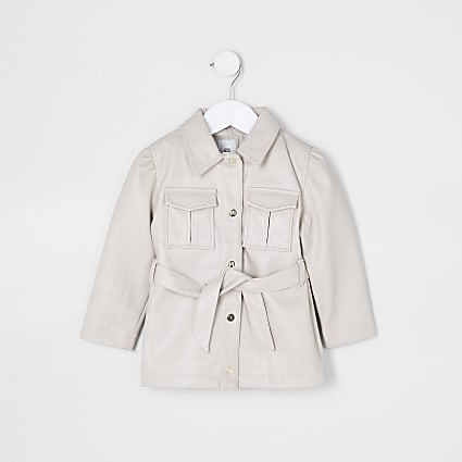 Mini girls beige faux leather belted jacket
