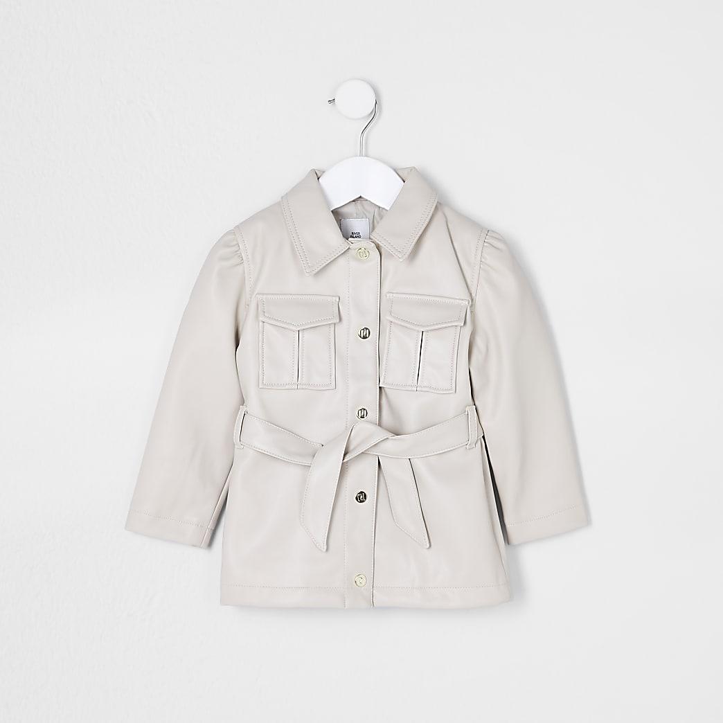 Mini girls beige faux leather belted jacket