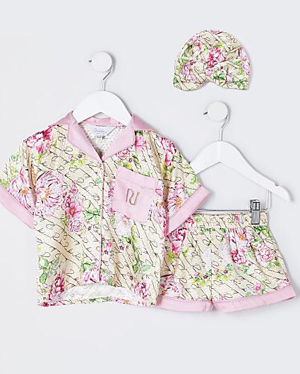 Mini girls beige floral boxy satin pyjama set
