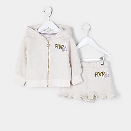 Mini girls beige floral 'Luxe' hoodie outfit