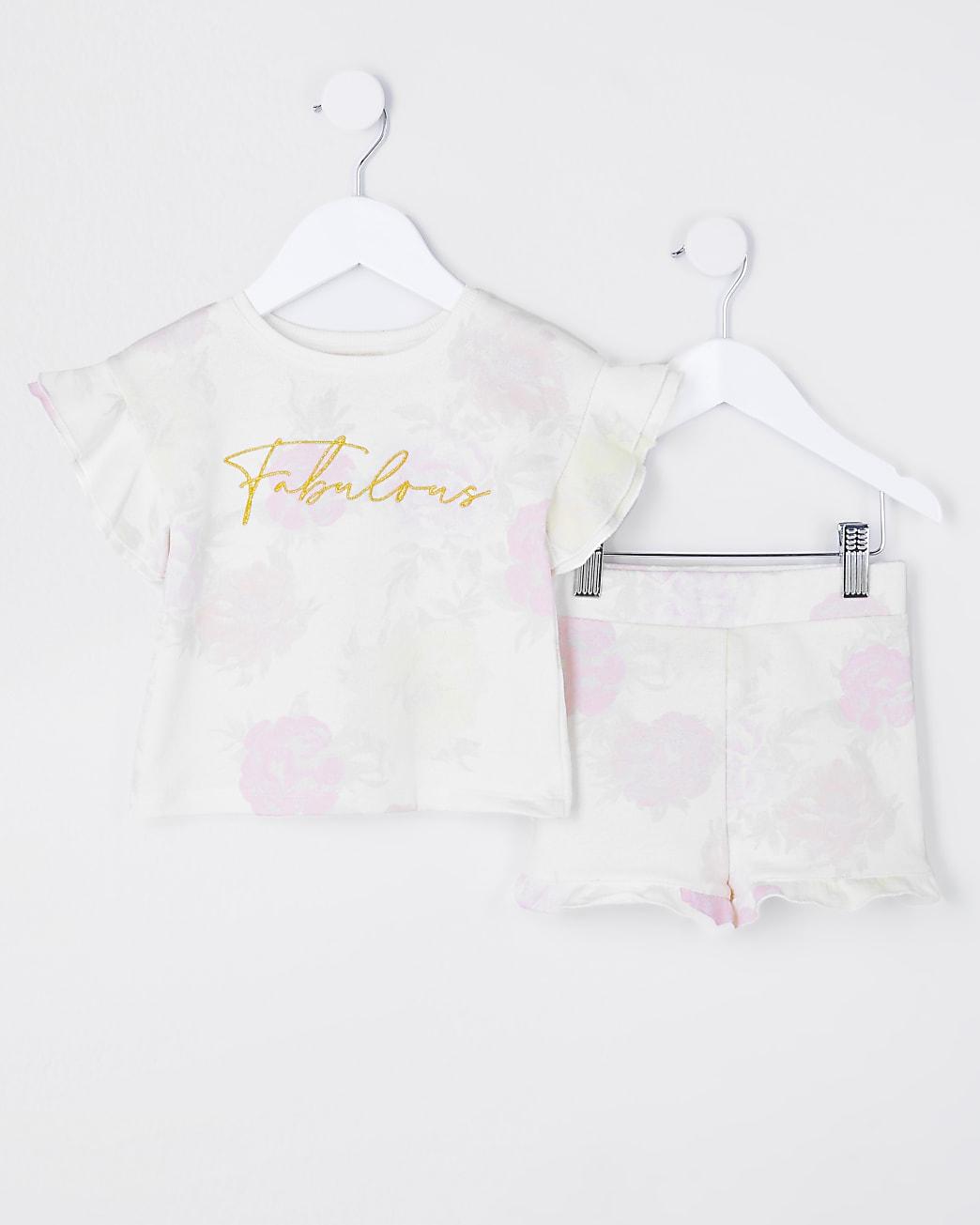 Mini girls beige floral t-shirt and short set