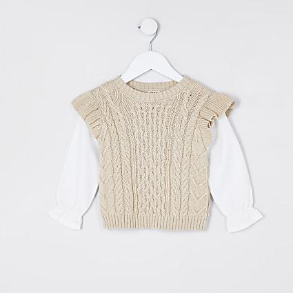 Mini girls beige frill 2 in 1 jumper