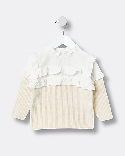 Mini girls beige frill bib jumper