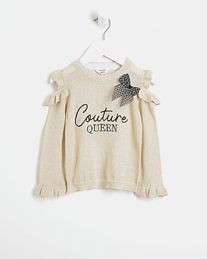 Mini girls beige frill cold shoulder jumper