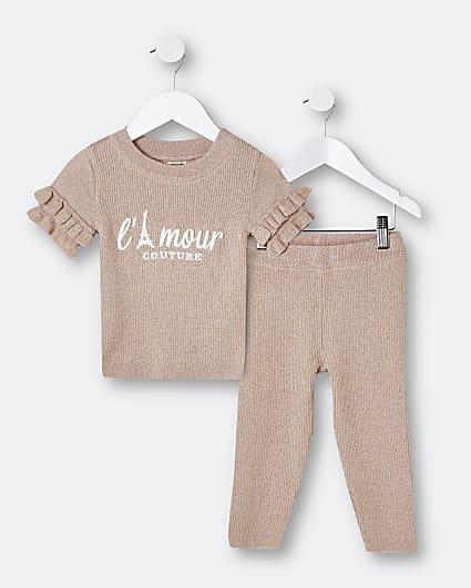 Mini girls beige frill t-shirt and leggings