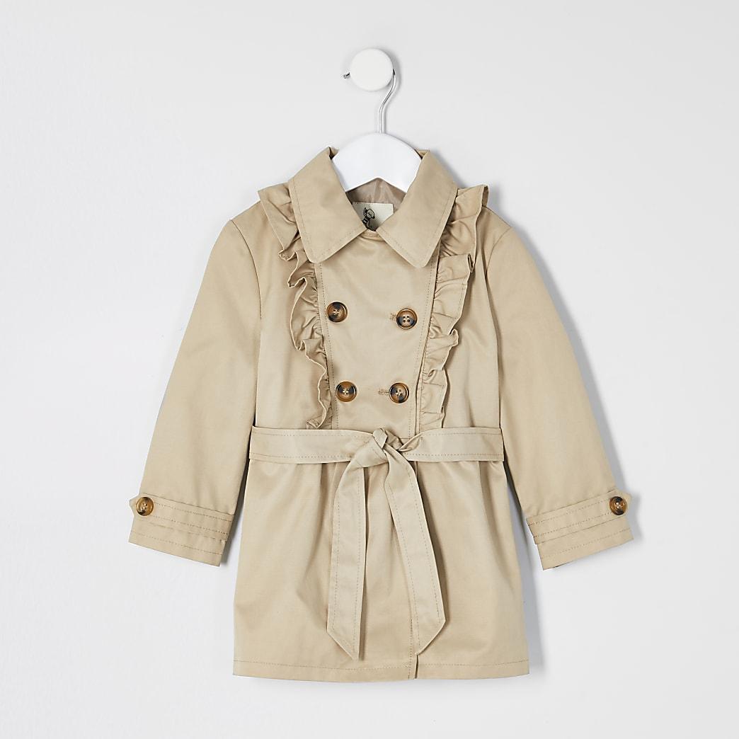Mini girls beige frill trench coat