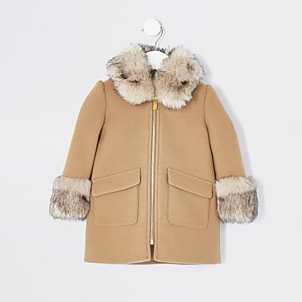 Mini girls beige fur trim wool coat