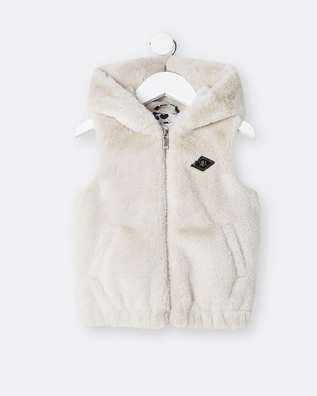 Mini girls beige hooded faux fur gilet