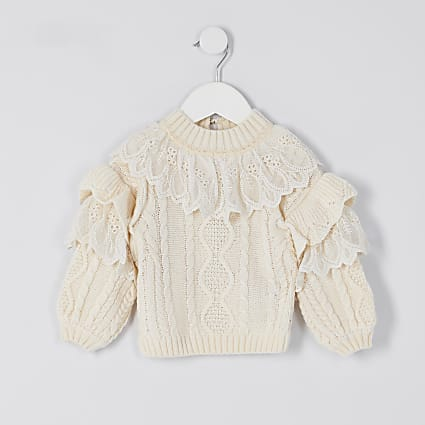 Mini girls beige lace frill high neck jumper