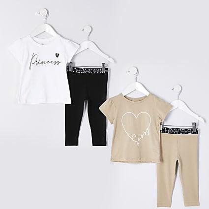 Mini girls beige legging outfit 2 pack
