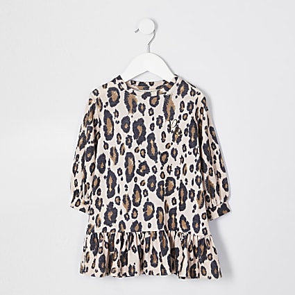 Mini girls beige leopard dress
