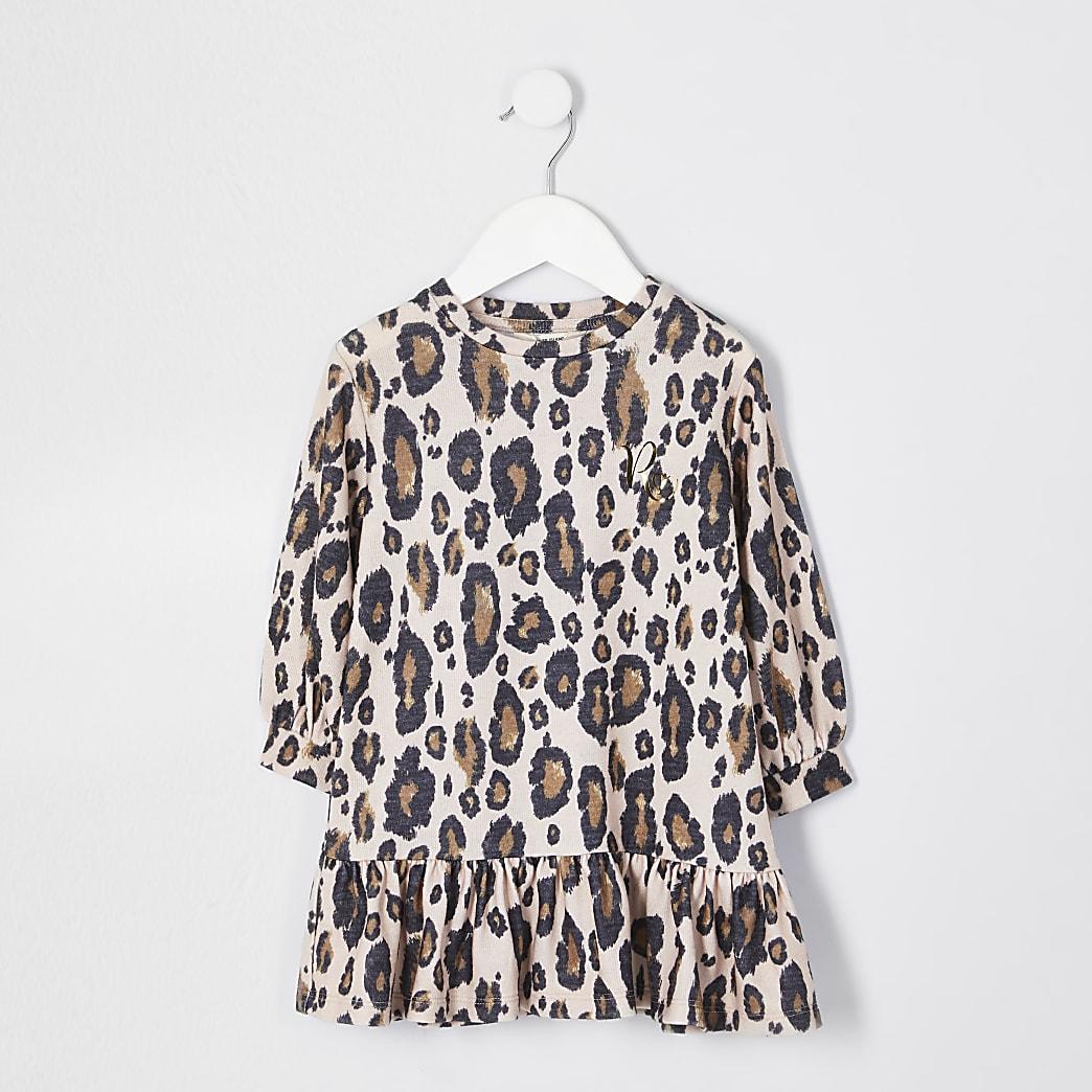 Mini girls beige leopard dress