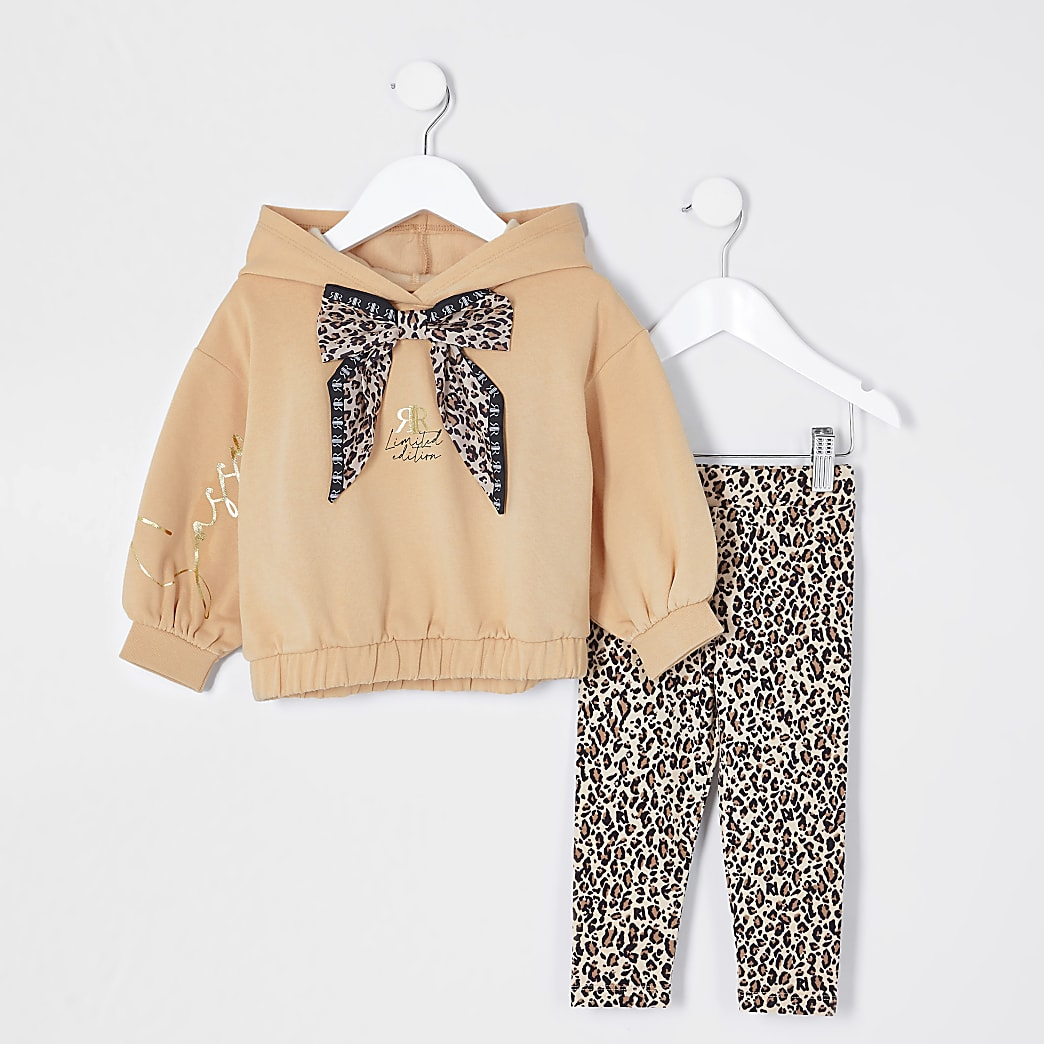 Mini girls beige leopard hoodie outfit