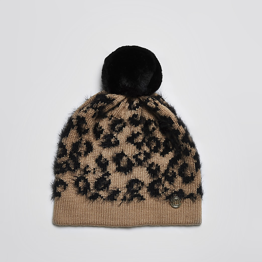 Mini girls beige leopard print beanie hat
