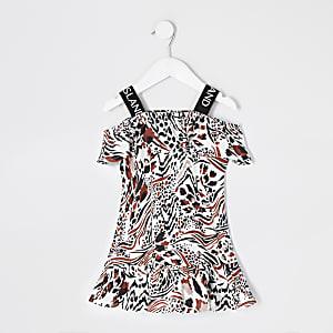 Mini – Beiges Kleid mit Leopardenmuster für Mädchen