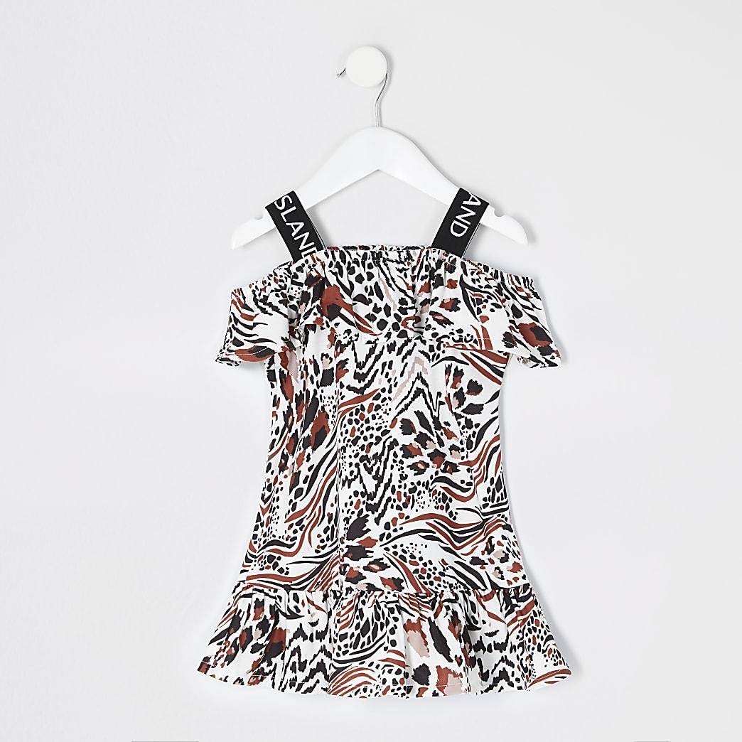 Mini - Beige jurk met luipaardprint voor meisjes