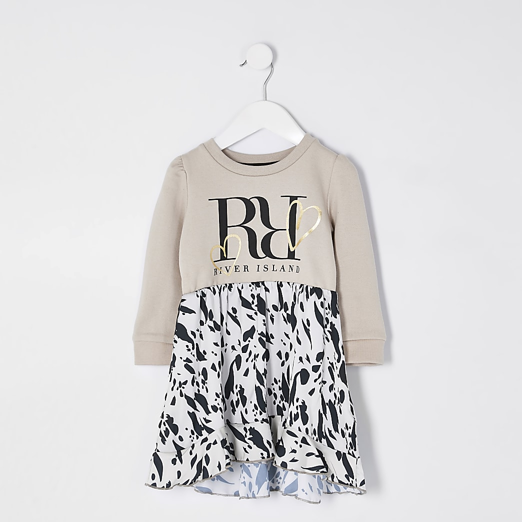 Mini girls beige leopard print sweat dress