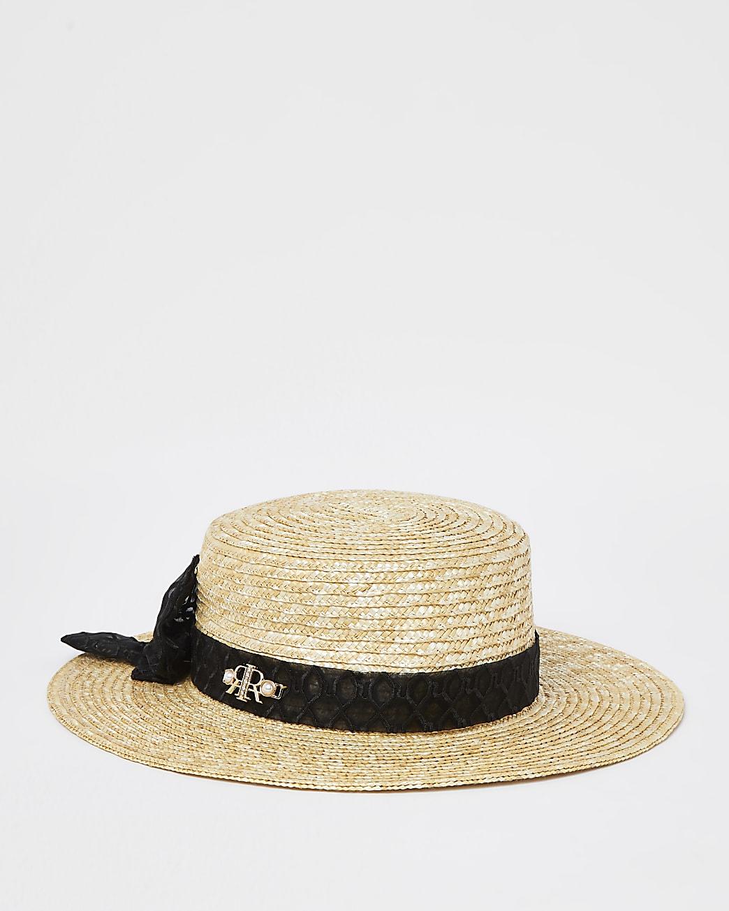 Mini girls beige logo bow straw hat