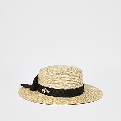 Mini girls beige logo bow straw hat