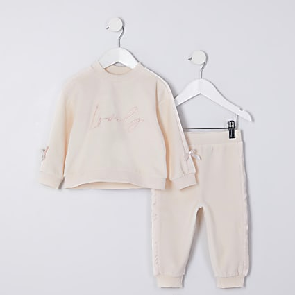 Mini girls beige 'Lovely' velour outfit