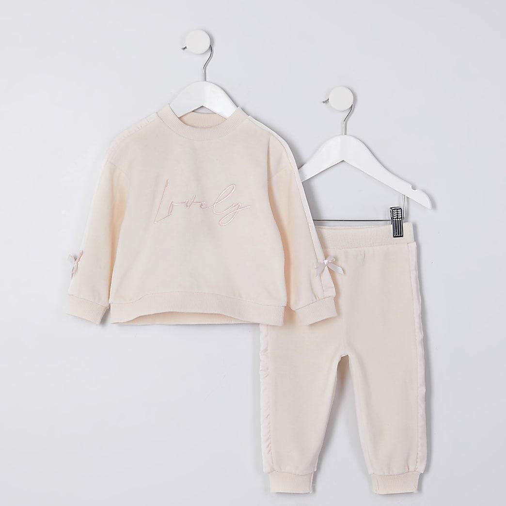 Mini girls beige 'Lovely' velour outfit